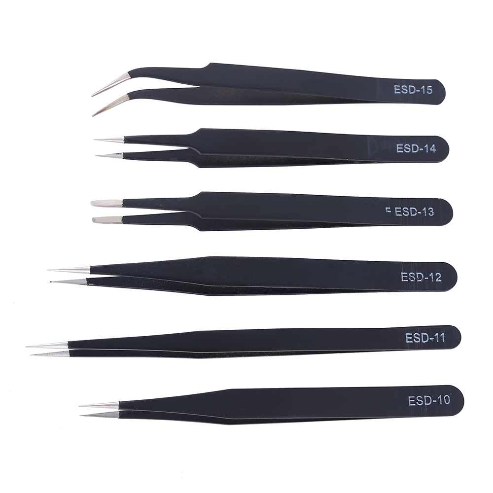 6Pcs ESD Anti-Static Stainless Steel Industrial Tweezers Set Maintenance Repair Tool Kit Anti Static Model Making Tool Hand Tool