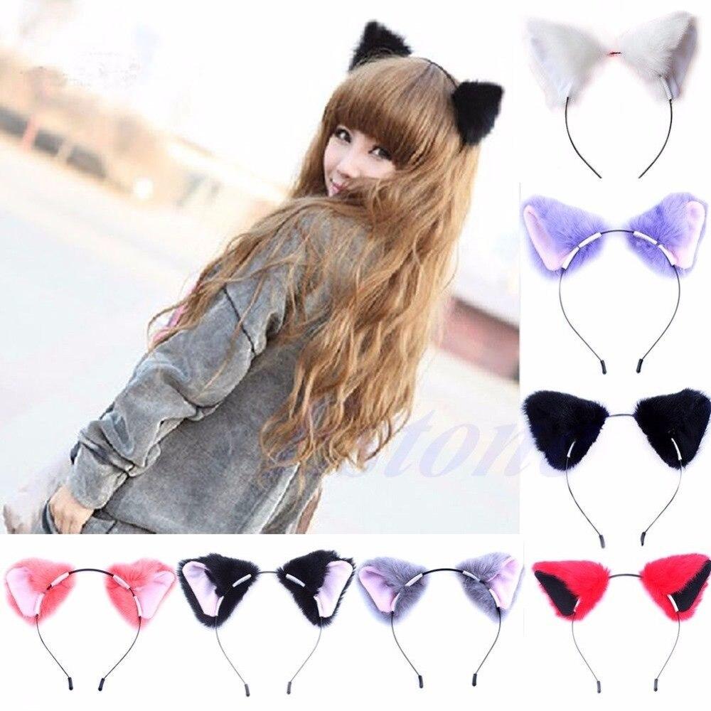 Fashion Girl Cute Cat Fox Ear Long Fur Hair Headband Anime Cosplay Party Costume