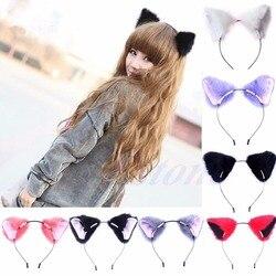 Модная симпатичная повязка на голову с длинными меховыми ушками и кошачьими ушками для девочек; Карнавальный костюм для костюмированной ве...