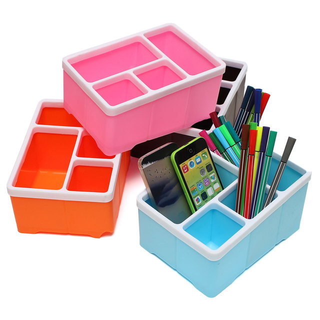 Office Desk Storage Box 4 Slots Pencil Stationary Stand Plastic Holder For Remote Control Cell Phone