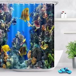 Подводная Водная Жизнь занавеска для душа с коралловыми рифами ванная комната водонепроницаемый Экстра длинный полиэстер ткань для