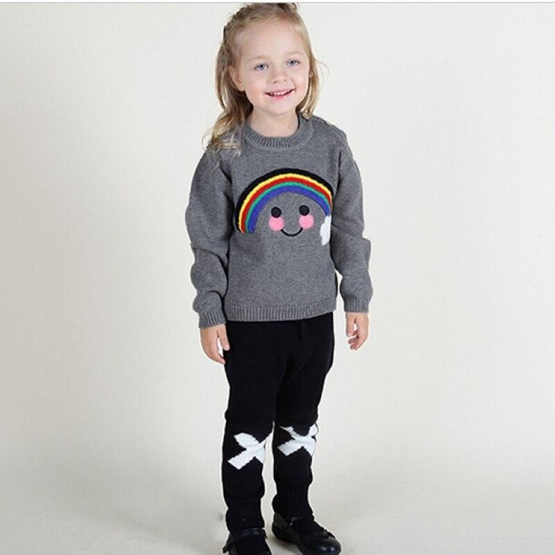 e60d0dab5de0 Knitted Sweater Baby Boys Girls Kids Pullover Cartoon Rainbow Smiley ...