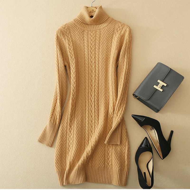 high grade 100%goat cashmere twisted add thick knit women's basics pullover sweater dress turtleneck mid long S 2XL