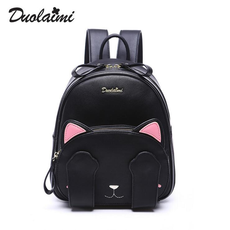 duolaimi brand cute cat character appliques rucksack hotsale women embroidery shopping bags ladies preppy style student