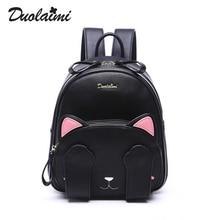 Duolaimi бренд милый кот символов аппликации рюкзак hotsale женщины вышивка сумки женские опрятный стиль студент рюкзак