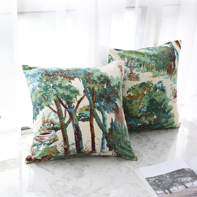 Pillowcase Hot Nordic Style Retro Green Plant Print Throw Cushion Cover Pillow Case Waist Square Sofa Livingroom Home Decor Gift