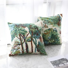 Pillowcase Hot Nordic Style Retro Green Plant Print Throw Cushion Cover Pillow Case Waist Square Sofa Livingroom Home Decor Gift belarus national flag asia country square throw pillow insert cushion cover home sofa decor gift