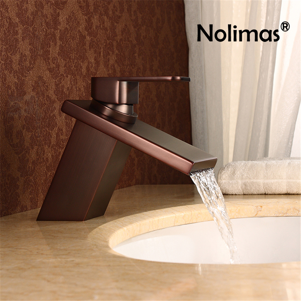 цена на Waterfall Widespread Basin Faucet Brass Single Handle Single Hole Cold Hot Wate Mixer Tap Deck Mount Bathroom Basin Sink Faucet