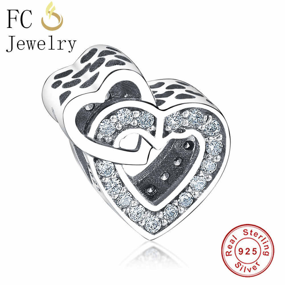 6d24f65f5 FC Jewelry Fits Original Pandora Charms Bracelets Authentic 925 Sterling Silver  Two Hearts CZ Stone Crystal