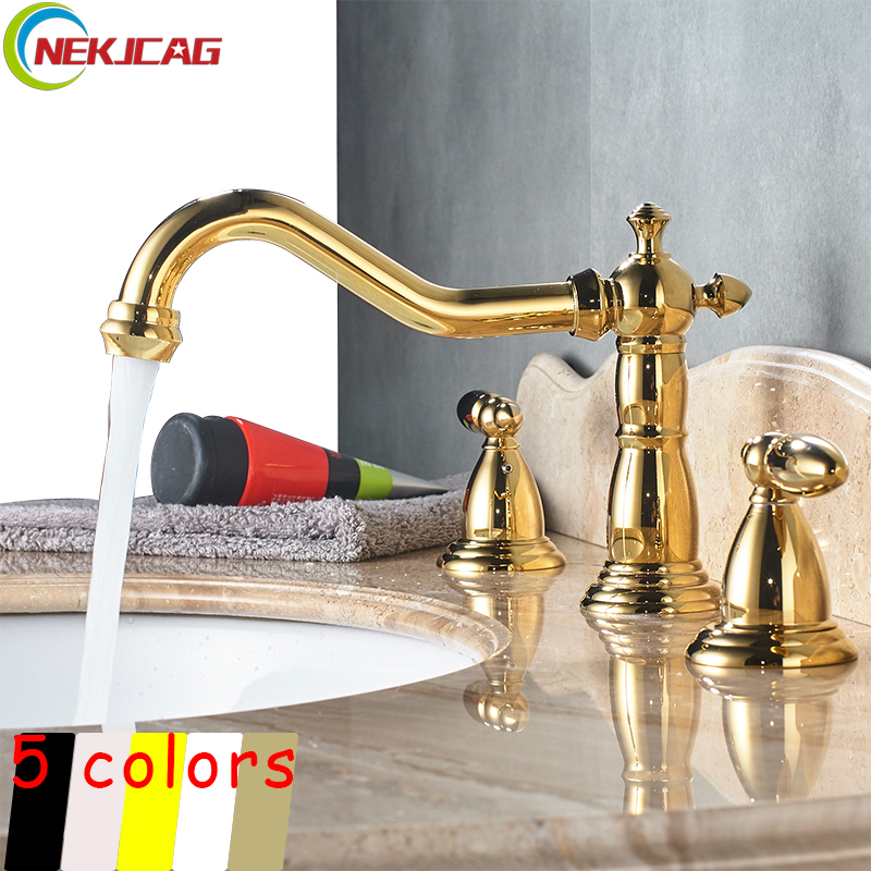 Gold Plated Deck Mounted Basin Sink Faucet Chrome Polished Widespread Mixer Taps Hot and Cold Water Faucet anon маска сноубордическая anon somerset pellow gold chrome
