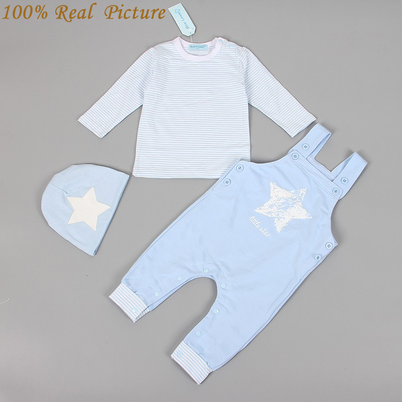 Bear Leader Baby Boy Clothing Set 2016 New Casual Baby Boy Clothes Cotton Stars (Hat + T-shirt+overalls)3pcs for Baby Rempers
