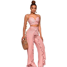 2019 spring new womens jumpsuit two-piece fashion casual female wide-leg pants suit