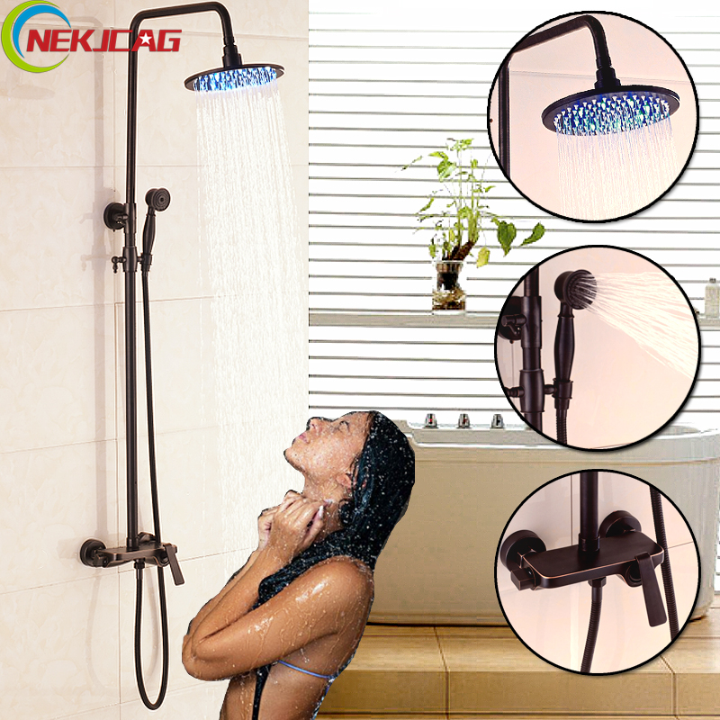Four Sizes LED Oil Rubbed Bronze Bathtub Shower Set Mixer Faucet Rain Shower Head with Handheld Shower head