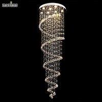 Роскошная Современная Большая большая D55 * H220cm лестница Длинная спиральная хрустальная люстра осветительная арматура для лестницы Дождева