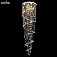Luxury Modern Large Big D55*H220cm Stair Long Spiral Crystal Chandelier Lighting Fixture for Staircase Rain Drop Pending Lamp