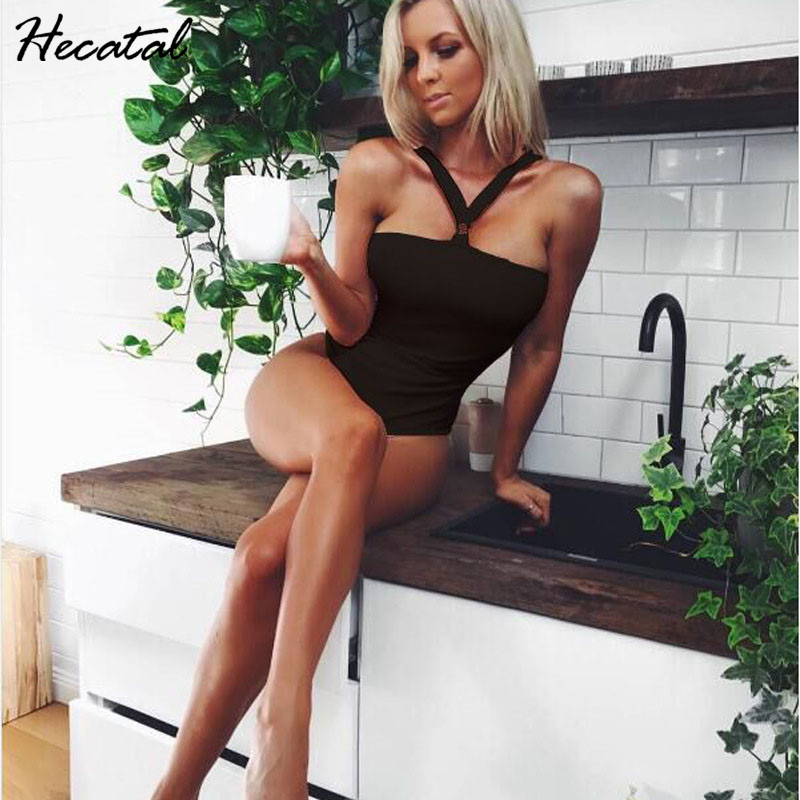Hecatal 2018 Sexy One-piece Swimwear Women Swimsuit Vintage Beach Wear Trunk Bath Suit Deep Solid Color Beach Wear Push Up