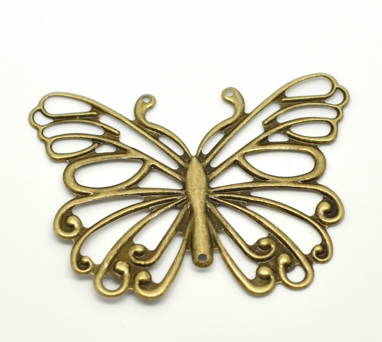 DoreenBeads Alloy Connectors Findings Butterfly Antique Bronze Pattern Pattern Color Plated 6.6cm(2 5/8