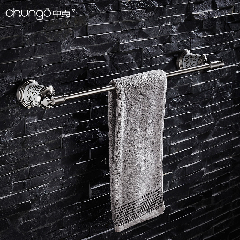 Фото 304 Stainless Steel Brushed Silver 60 cm Single Towel Bars Ceramic White Towel Rack Bathroom Accessories Wall Mounted HY-20-409