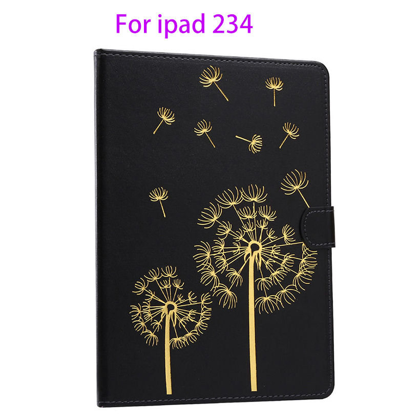 New Fashion Flowers pattern Leather Cover For Apple ipad 2 3 4 Case Fundas Tablet Soft TPU rubber Stand Wallet Protective Shell