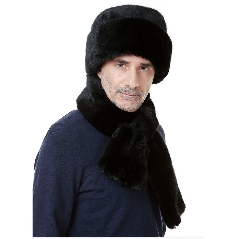 Hat Winter Men/'s Imitation Mink Fur Outdoor Middle-aged Old Thickened Warm Cap