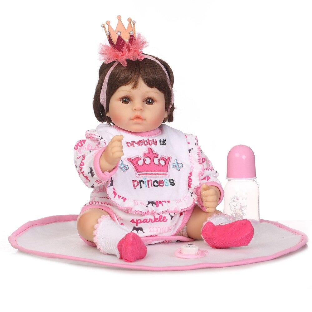 купить NPK 47cm Soft Silicone Reborn Baby Doll Toy Lifelike For Girl Soft Cloth Body 17