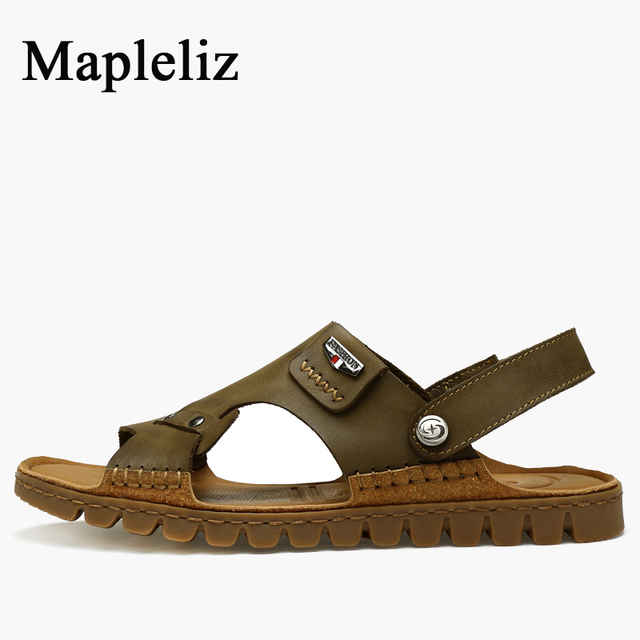 Mapleliz Brand Solid Leisure Men Sandals Genuine Leather Sewing Slip-On High Quality Soft Flat Brown Beach Shoes For Men