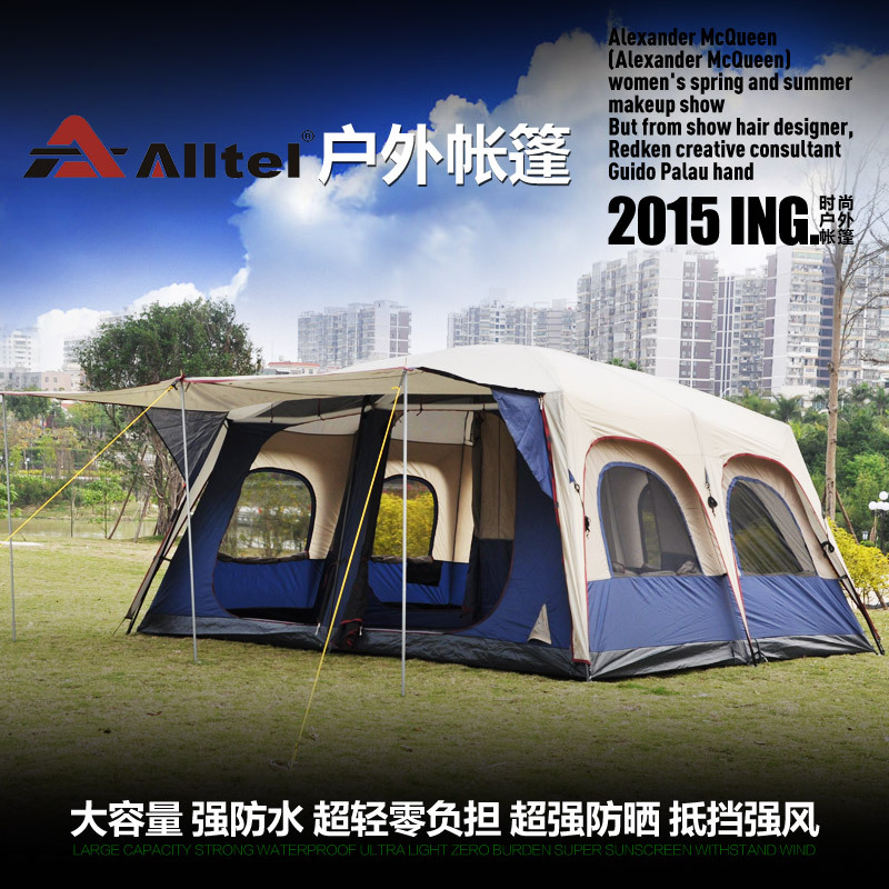 Large 2 bedroom 1 living room 8-12 person beach hiking party base UV wind proof anti mosquito outdoor camping tent,relief tent