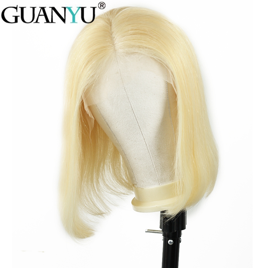 150% Density 13*4 Lace Front Human Hair Wigs 613 Blonde Short Bob Straight Lace Wig Brazilian Remy Human Hair Pre Plucked Guanyu