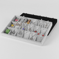 35 24 Wholesale Gray Ice Velvet Jewelry Display Tray For Necklace Earring Pendant Set Showcase With