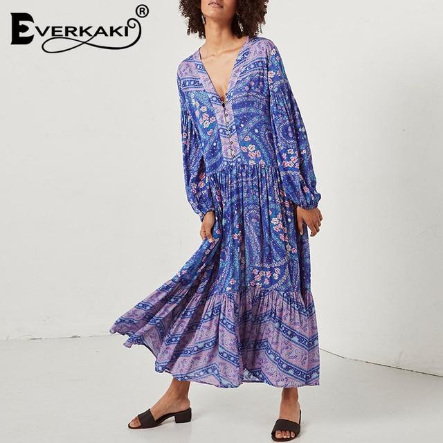 Everkaki Women Maxi Dress Paisley Floral Print Loose Long Lantern Sleeves  V-Neck Gypsy Print Long Bohemian Dresses Women 2019 1ad488be08b6
