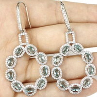 Hot Sell Big Long 2 5inch Real Green Emerald White CZ Engagement Party 925 Silver Earrings