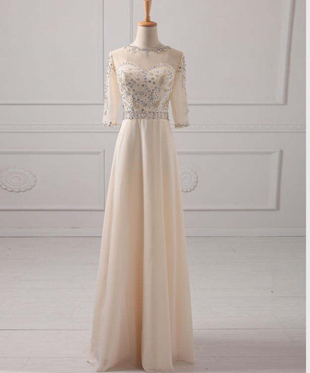 2017 New Arrival Beige Long Chiffon Beading Crystal Prom Dresses Party Formal Gown 3/4 Sleeves Bridesmaid Dresses 1