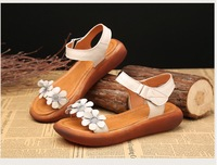 RUSHIMAN 2018 Summer Summer New Original Vintage Real Leather Sandals With Peep Toe Sandals Magic Sandals