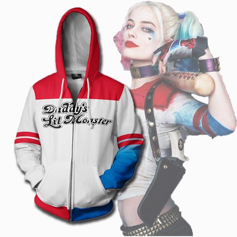 Suicide Squad Harley Quinn Hoodie Cosplay Zipper Sweatshirt Pullover Harley Quinn