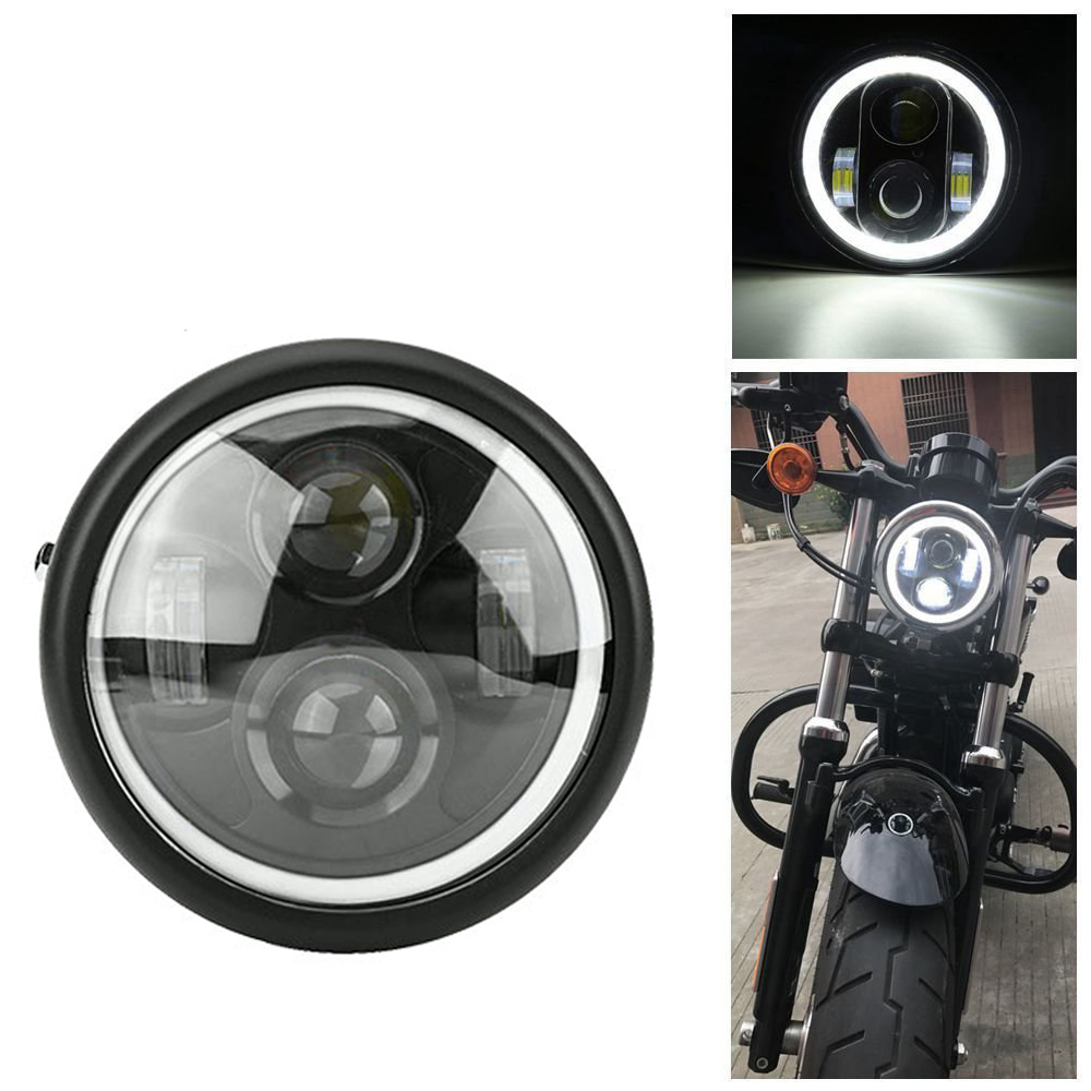 6 5inch Motorcycle LED Headlight Hi amp Lo HeadLamp Bulb DRL With Angel Ring for Harley Sportster Cafe Racer Bobber Iron 883