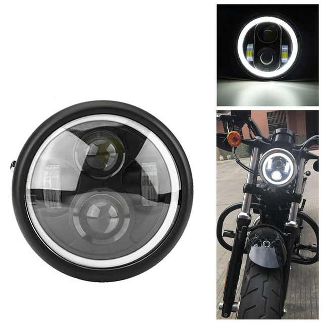 "6.5"" Motorcycle LED Headlight Hi&Lo HeadLamp Bulb DRL With Angel Ring for Harley Sportster Cafe Racer Bobber Iron 883"