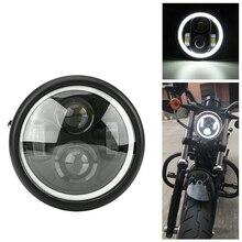 """Lâmpada DRL com anel de anjo de farol Hi&Lo LED de motocicleta 6,5"""", para Harley Sportster Cafe Racer Bobber Iron 883"""