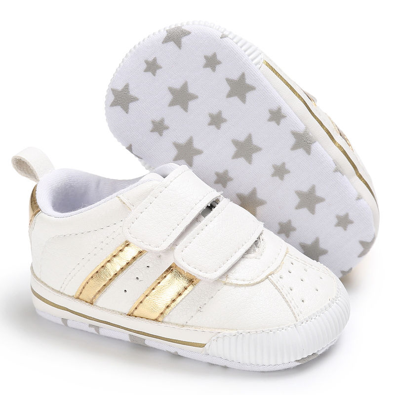 Infant toddler soft sole hook loop prewalker sneakers baby boy girl crib shoes newborn to 18 months