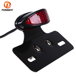 POSSBAY Clear/Red/Smoke Motorcycle Taillight Universal Retro Motocross Motorbike Brake Stop Indicator Light For ATV Scooter