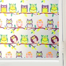 90*200cm Glue-free Owl Window Film Stained Glass Sticker kids room door Privacy Static Decorative for furniture Home Decor