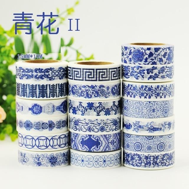 19 Designs NEW Blue White China Porcelain Pattern Japanese Washi Decorative Adhesive DIY Masking Paper