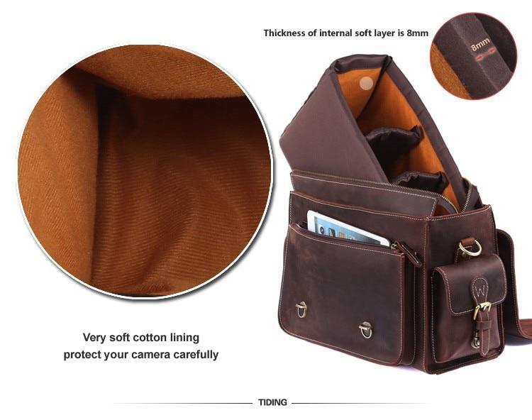 Bagaj ve Çantalar'ten Seyahat Çantaları'de Erkekler için çılgın at hakiki deri kamera çantası Nikon Canon için çok cep büyük kapasiteli kamera kılıf Kahverengi inek derisi seyahat çantası'da  Grup 3