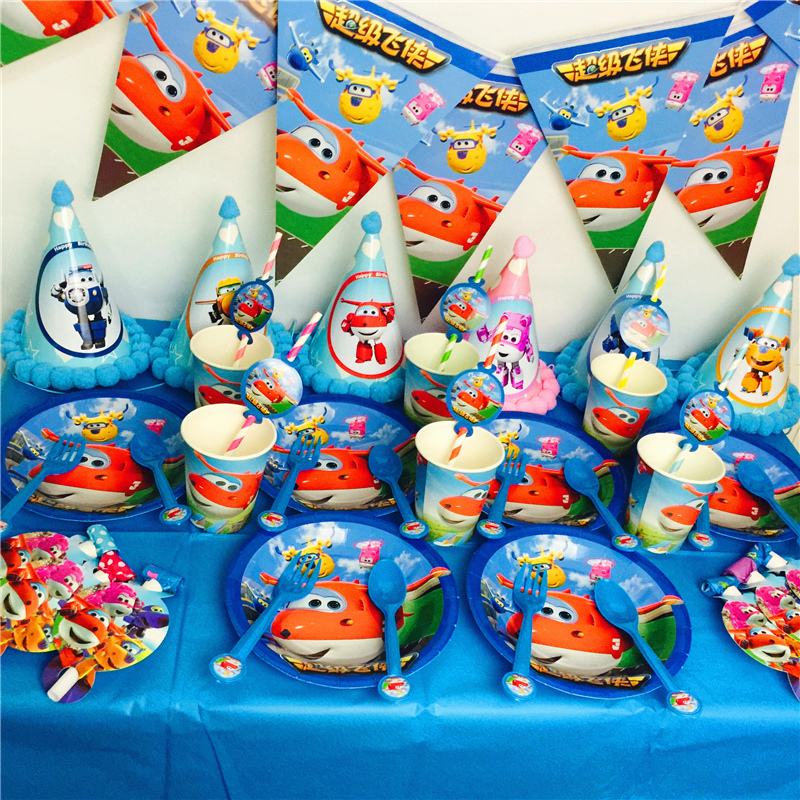 OUSSIRRO fournitures de fête 51 pièces pour 6 enfants Super ailes thème fête d'anniversaire décoration vaisselle ensemble assiette + tasse + paille + bannière + Topper