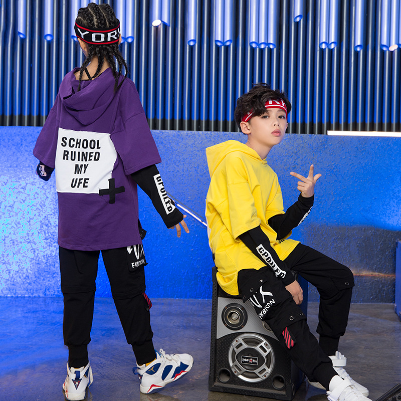 Yellow Purple Hoodie Black Pants Set Children's Hiphop Street Dancewear Suit Kids Girls Boys Jazz Hip Hop Dance Costumes Clothes