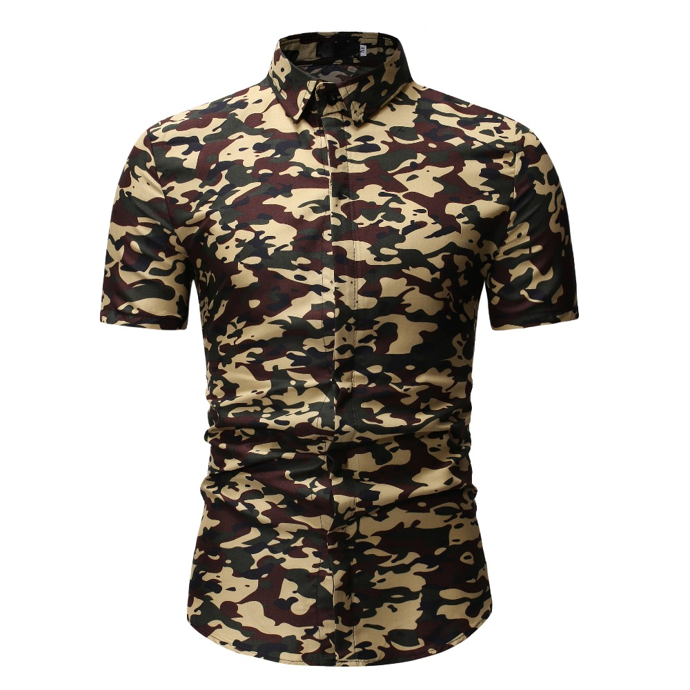 hot sale High quality Fashion 2019 Men Shirts Men's New Pattern Casual Fashion Printing Lapel Camouflage Short Sleeve Mens Shirt