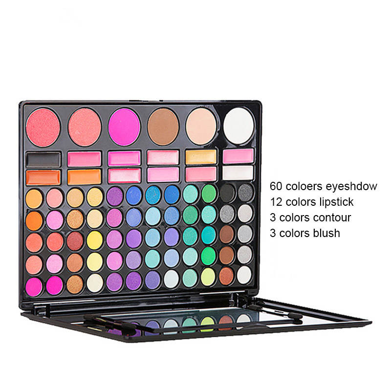 Fashion eye makeup 78 color eyeshadow Earth pearlescent matte lip gloss blush single layer box set