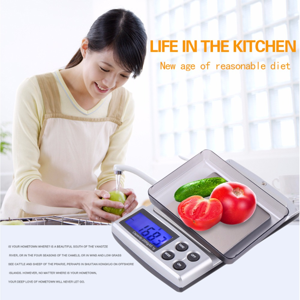 2KG Digital Pockets Scale Lack+Silver Auto Power Off Jewelry Weight Balance Scale Precision LCD With Optional Backlight