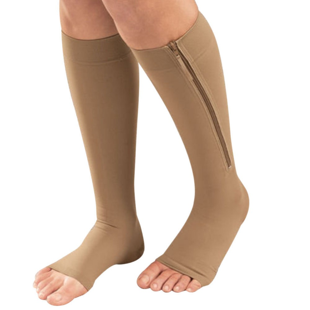 New Women Zipper Compression Socks Zip Leg Support Knee Sox Open Toe Sock S/M/XL W1