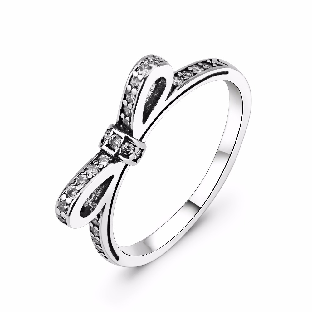 100 Real Pure 925 Sterling Silver Ring Bowknot R Jewelry Antique Silver Party Ring For Women