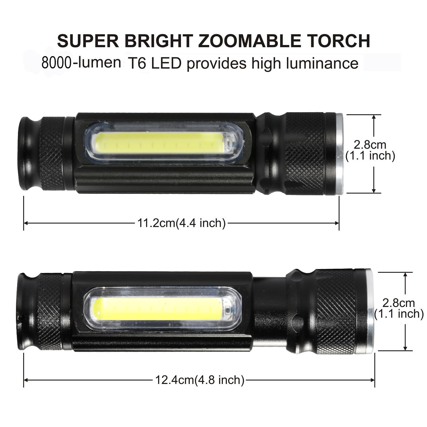 Image 4 - Multifunctional LED Flashlight USB Rechargeable battery Powerful T6 torch Side COB Light design Flashlight tail magnet WorkLight-in LED Flashlights from Lights & Lighting